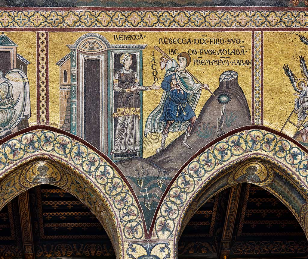 "Monreale, Duomo: ""Rebecca orders her son Jacob to flee to Haram with his brother Laban"", Byzantine mosaic, Old Testament cycle - Abraham, XII - XIII century.Latin inscription: ""REBECCA DIXIT FILIO SUO JACOB FUGE AB LABAN FRATREM MEUM IN HARAM""."