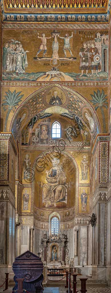 Monreale, Duomo: view of the transept and the Southern apse with St. Peter's stories. Byzantine mosaics, XII - XIII centuries.