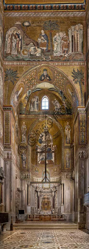 Monreale, Duomo: view of the transept and the Northern apse with St. Paul's stories. Byzantine mosaics, XII - XIII centuries.
