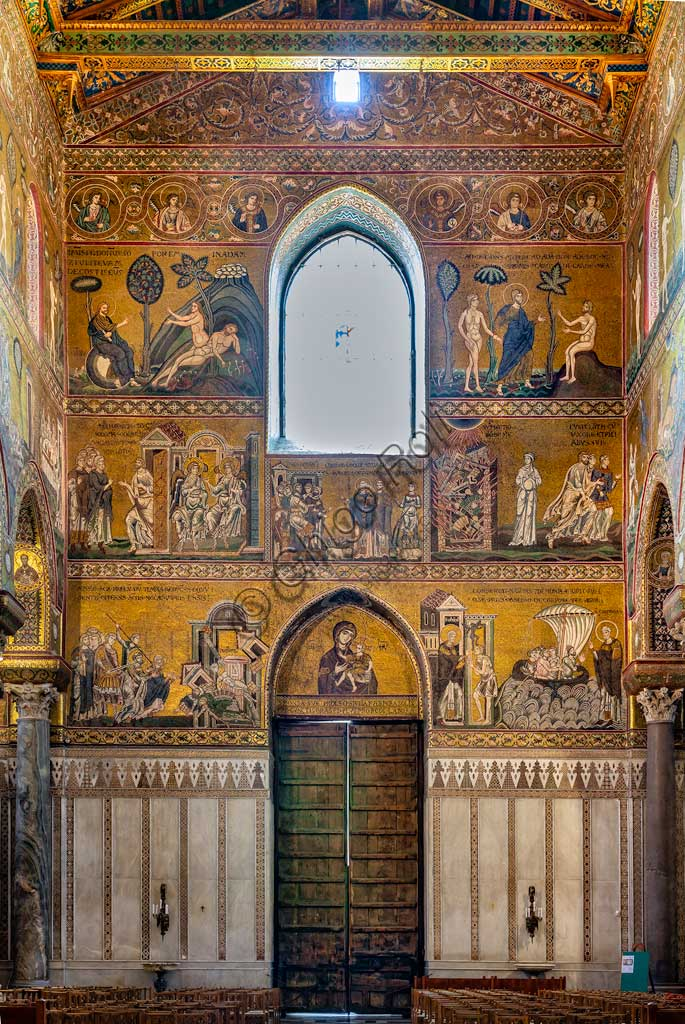 Monreale, Duomo: view of the  counterfaçade, decorated by byzantine mosaics (XII - XIII centuries).