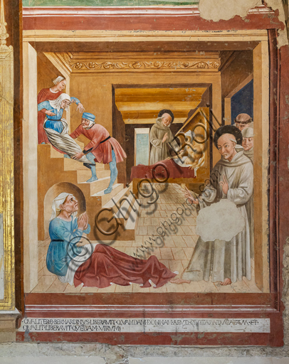 "Montefalco, Museum of St. Francis, Church of St. Francis, Chapel of St. Bernardino of Siena: ""Stories of S. Bernardino and Saints: The saint heals a man and a woman"", frescoes by Jacopo Vincioli of Spoleto (Gozzolese expressionist). 1461."