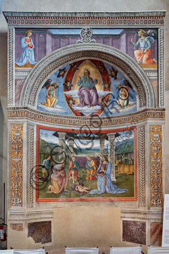 "Montefalco, Museum of St. Francis, Church of St. Francis: ""Nativity with the Annunciation and the Eternal among angels and cherubs"", by Pietro Vannucci known as  Perugino, 1503. Fresco. From the top, ""Annunciation"", ""The blessing Eternal between cherubs and two kneeling angels"", ""Nativity""."