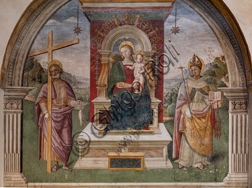 "Montefalco, Museum of St. Francis, Church of St. Francis,  Niche of St. Andrew: ""Madonna enthroned with Child between St. Andrew and St. Bonaventure of Bagnoregio"", by Tiberio Diotallevi known as Tiberio d'Assisi. Fresco from 1510."