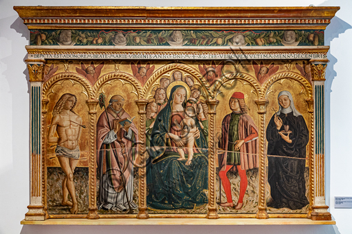 "Montefalco, Museum of St. Francis: ""Virgin and Child with the Saints Sebastian, Fortunatus, Severus and Claire da Montefalco"", by Francesco Melanzio, 1488, tempera on panel."