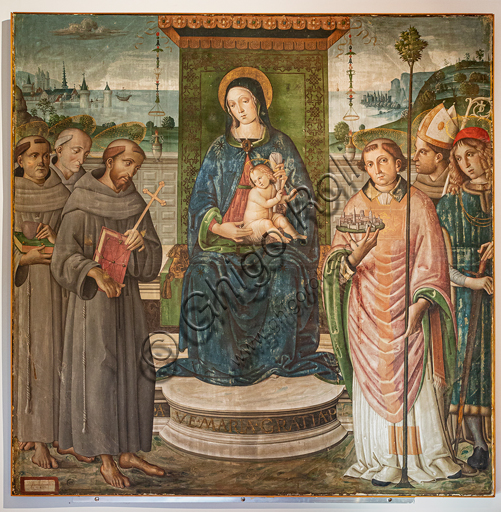 "Montefalco, Museum of St. Francis: "" Madonna enthroned  with Infant Jesus and Saints: S. Anthony of Padua,, St. Francis of Assisi, St. Bernardino of Siena, Fortunatus, Louis of Tolosa, Severus"", by Francesco Melanzio, 1498, tempera on canvas."