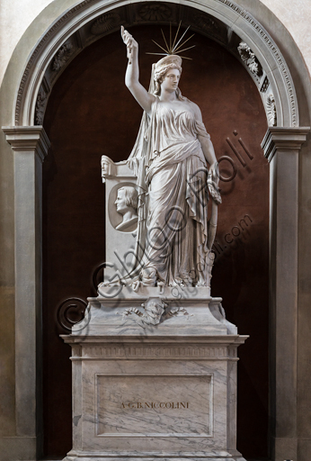 "Basilica of the Holy Cross, Counterfaçade: ""Funeral monument of Giovan Battista Niccolini, 1883, by Pio Fedi.The female figure represents the Liberty of Poetry and was probably an inspiration for the Statue of Liberty in the middle of Manhattan Bay in New York."