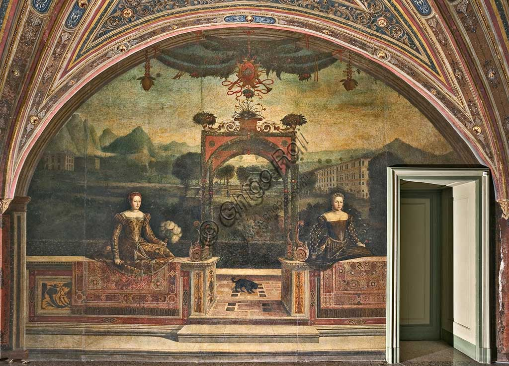 """Brescia, Palazzo Martinengo Salvadego: detail of the Small Room of the Noble Ladies. The decoration was commissioned by Gerolamo Martinengo da Padernello on the occasion of his wedding with Eleonora Gonzaga, celebrated on February 4, 1543. Oil paintings on canvas glued to the walls, by Alessandro Bonvicino called """"Il Moretto"""", (1543-1546)."""