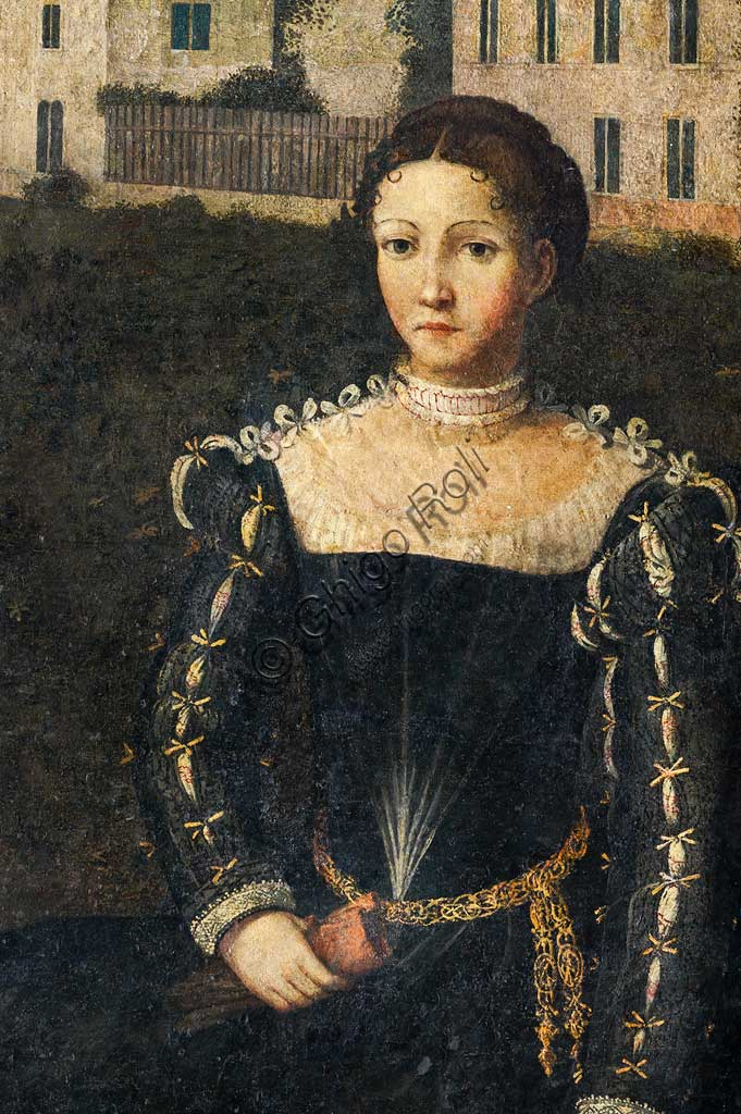 """Brescia, Palazzo Martinengo Salvadego: detail of the Small Room of the Noble Ladies. The decoration was commissioned by Gerolamo Martinengo da Padernello on the occasion of his wedding with Eleonora Gonzaga, celebrated on February 4, 1543. Oil paintings on canvas glued to the walls, by Alessandro Bonvicino called """"Il Moretto"""", (1543-1546). Detail with a portrait of a noblewoman."""