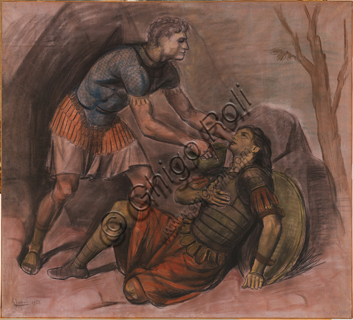 "Achille Funi (1890 - 1972); ""Death of Clorinda"" (1953, chalks and pastels on lined paper, cm 175 X 180."