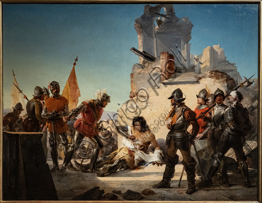 "Sebastiano De Albertis: ""Francesco Ferrucci's Deathvin Gavinana"";  oil painting, 1852."