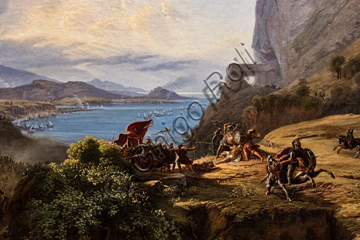 """Massimo D'Azeglio: """"The death of Leonidas (Thermopylae Pass)"""", oil painting on canvas, 1823."""
