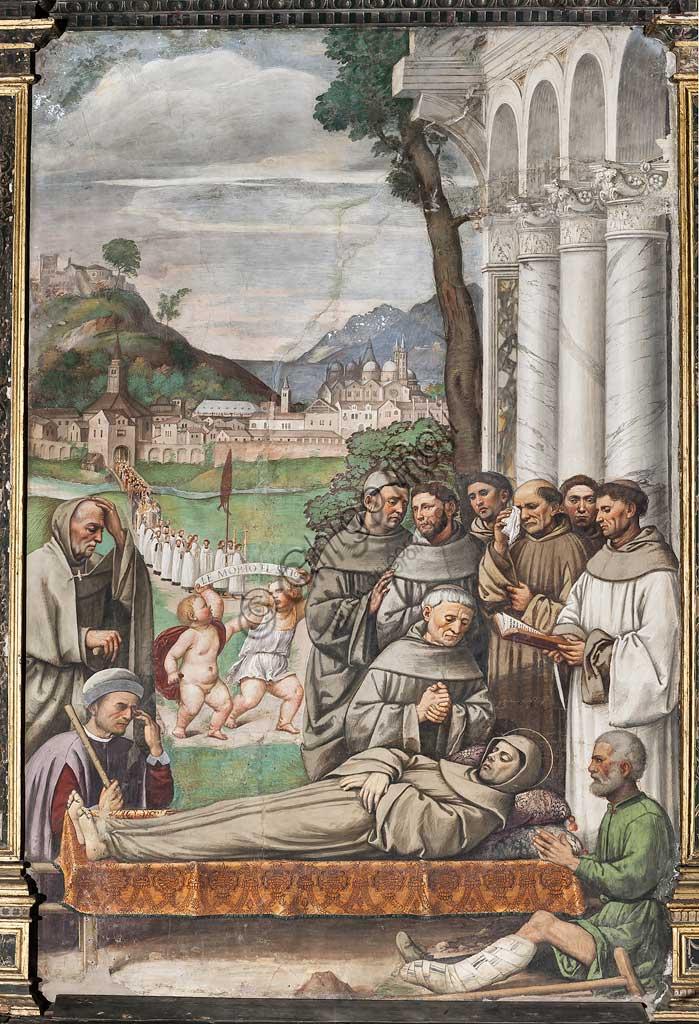 """Padova, Basilica di Sant'Antonio o del Santo, Scuola del Santo, Salone:""""Morte di S. Antonio"""", affresco di Girolamo Tessari, detto Girolamo Dal Santo, 1513."""