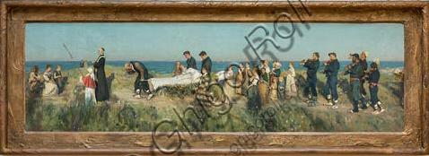 """Piacenza, Galleria Ricci Oddi:  """"Il morticello"""" (1884), olio su tela applicata su tavola, di Francesco Paolo Michetti (1851 - 1929)."""