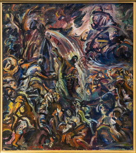 """Museo Novecento: """"Mosé fa scaturire l'acqua dalle roccei"""", di Emilio Vedova, 1942. Olio su tela."""