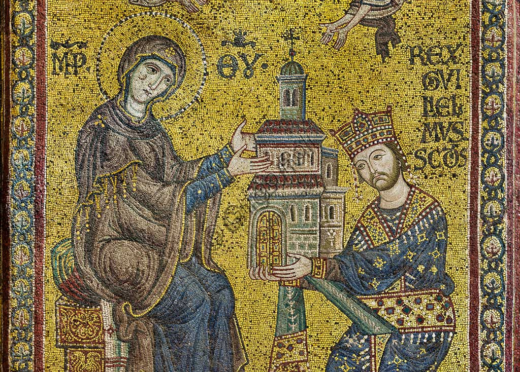 Monreale Cathedral, transept: the Byzantine mosaic which depicts King William II offering the Cathedral to the Virgin Mary.  Detail.The mosaics of the Cathedral were made between the twelfth and mid-thirteenth century by partly local and partly Venetian workers, trained at the Byzantine school.