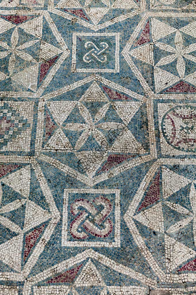 Piazza Armerina, Roman Villa of Casale, which was probably an imperial urban palace. Today it is a UNESCO World Heritage Site. Detail of the floor mosaic depicting geometric patterns.