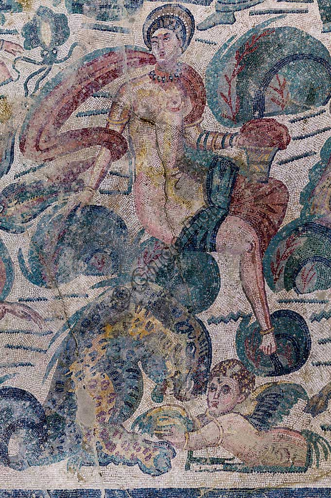 Piazza Armerina, Roman Villa of Casale, which was probably an imperial urban palace. Today it is a UNESCO World Heritage Site. Detail of the floor mosaic.
