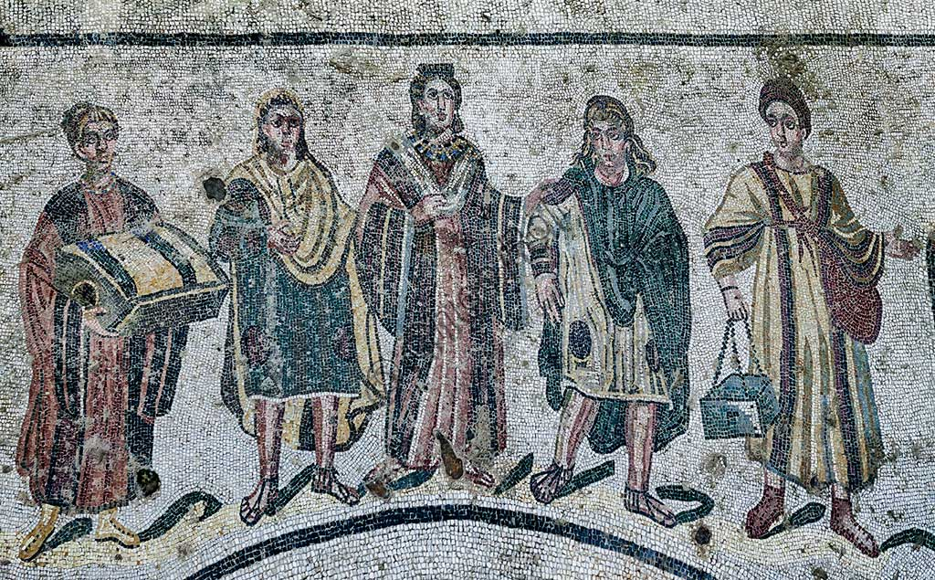 Piazza Armerina, Roman Villa of Casale, which was probably an imperial urban palace. Today it is a UNESCO World Heritage Site. Detail of the floor mosaic of the Spa dressing room, which depicts the landlady with her two sons and her maids.
