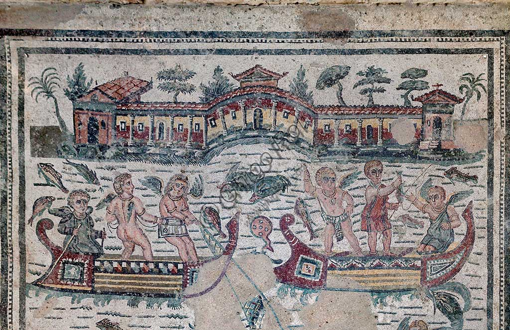 Piazza Armerina, Roman Villa of Casale, which was probably an imperial urban palace. Today it is a UNESCO World Heritage Site. Detail of the floor mosaic depicting fishermen and putti.