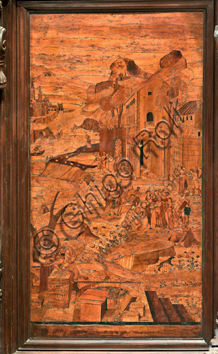 """Genova, Duomo (Cattedrale di S. Lorenzo), interno, abside, coro, lato nord: """"Mosè salvato dalle acque"""", tarsia lignea di Giovanni Francesco Zambelli (secolo XVI)."""