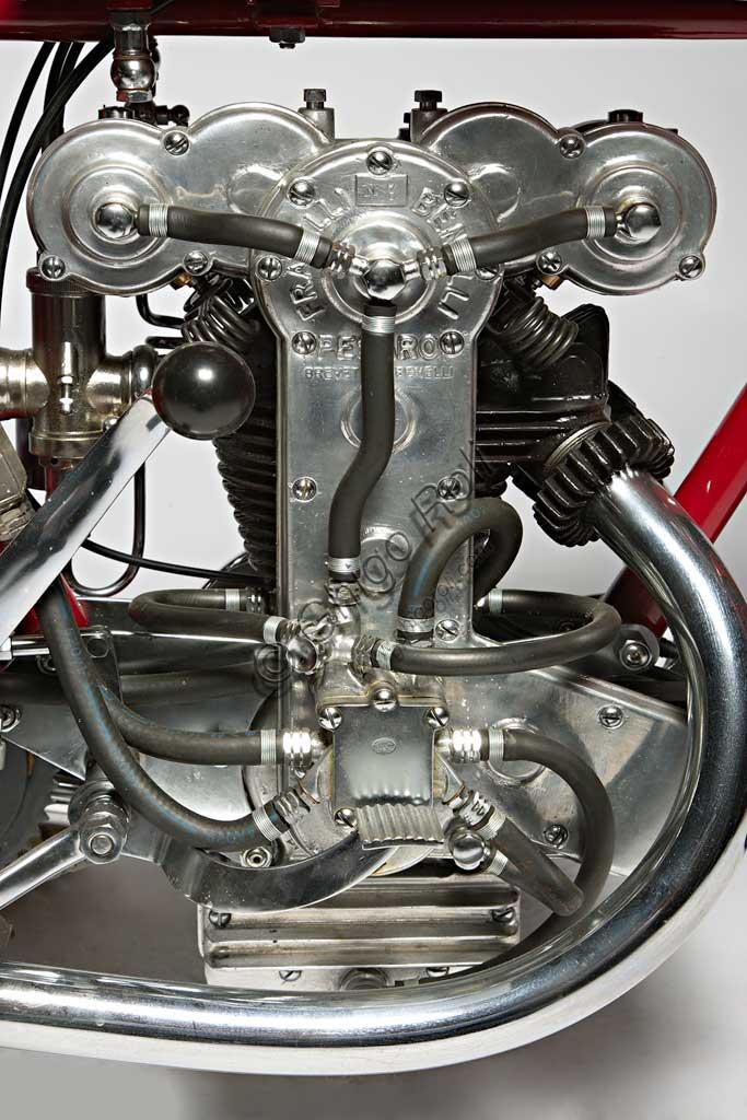 Ancient Motorbike Benelli 175 Bialbero Corsa. Engine.