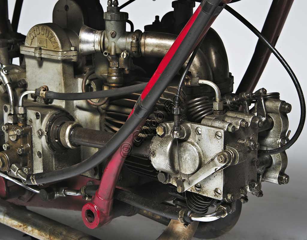Ancient Motorbike Moto Guzzi 4 VT SS Casa. Engine.