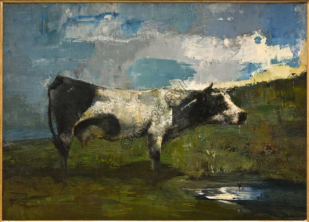 "Assicoop - Unipol Collection: Ubaldo Magnavacca (1885 - 1957), ""Grazing Cow"", painting."