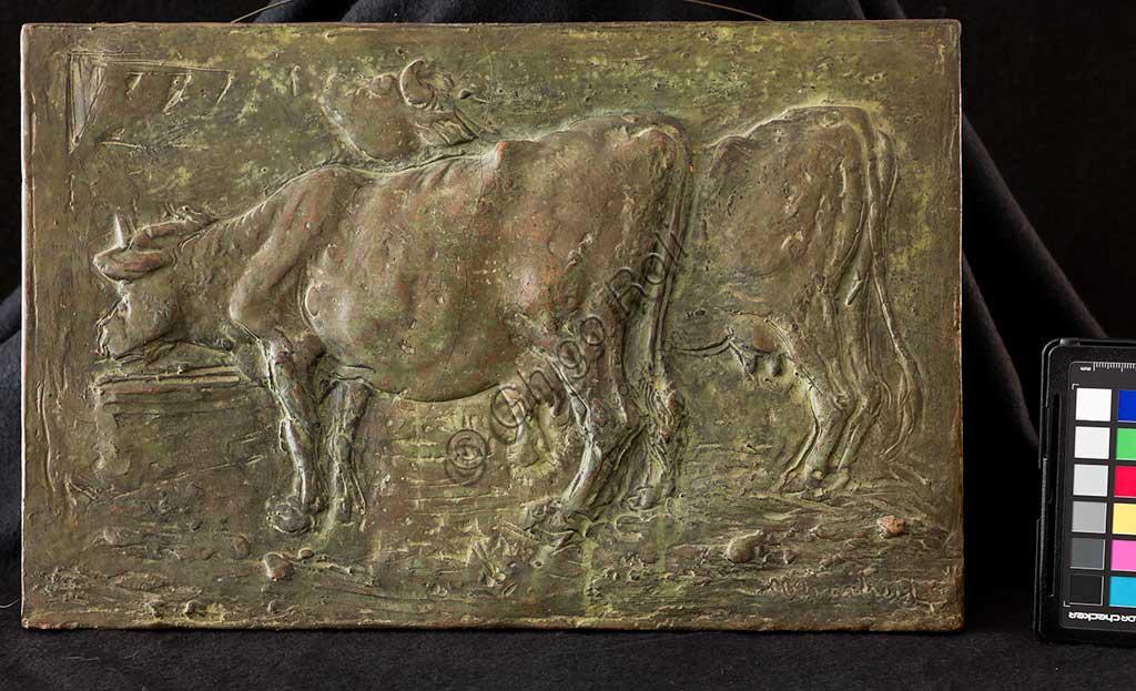 """Collezione Assicoop Unipol:  Marino Quartieri; """"Le Mucche""""; bassorilievo in terracotta, cm. 26,5 x 37."""