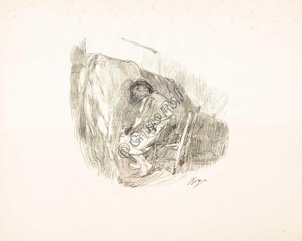 """Collezione Assicoop - Unipol: Giuseppe Graziosi (1879-1942), """"La mungitura"""", litografia."""