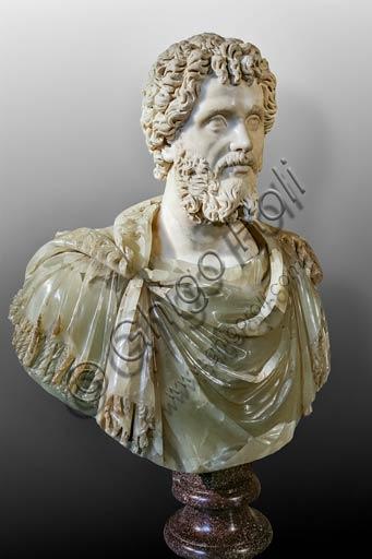 Musei Capitolini: busto di Settimio Severo in alabastro verdognolo, porfido rosso e marmo bianco (200-210 d.C.).
