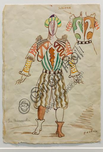 """Museo Novecento: """"Sir Riccardo Forth e particolari dell'abito per I Puritani, di Vincenzo Bellini"""", di Giorgio De Chirico, 1933. Matita e tempera acquarellata su carta."""