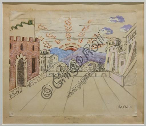 """Museo Novecento:""""Atto primo, scena prima per I Puritani, di Vincenzo Bellini"""", di Giorgio De Chirico, 1933. Matita e tempera acquarellata su carta incollata su cartoncino."""