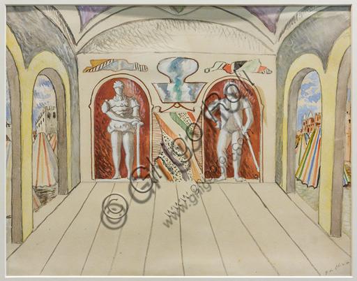 """Museo Novecento:""""Atto primo, scena terza per I Puritani, di Vincenzo Bellini"""", di Giorgio De Chirico, 1933. Matita e tempera acquarellata su carta incollata su cartoncino."""