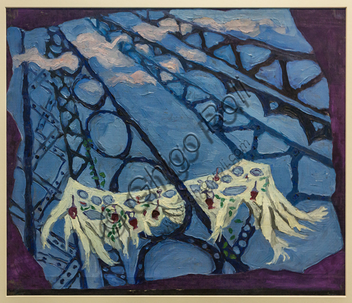 """Museo Novecento:""""Scena unica per Les Mariés de la Tour Eiffel, di J. Cocteau"""", di Toti Scialoja, 1948. Olio su tela."""