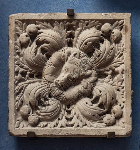 Museum Stefano Bardini, 'la chiostrina': decorative tile in Carrara marble representing the bull (Symbol of St. Luke), that were realised in Genoa, second half of the XIII century.
