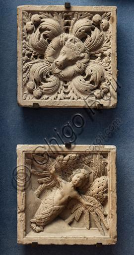 Museum Stefano Bardini, 'la chiostrina': decorative tiles in Carrara marble, that were realised in Genoa, second half of the XIII century.