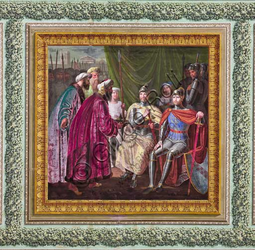 "Palermo, The Royal Palace or Palazzo dei Normanni (Palace of the Normans), The Royal Apartment, The Yellow Room: ""Muslims offering presents to the Altavilla Brothers"",  dry wall painting by Giuseppe Patania, about 1835."