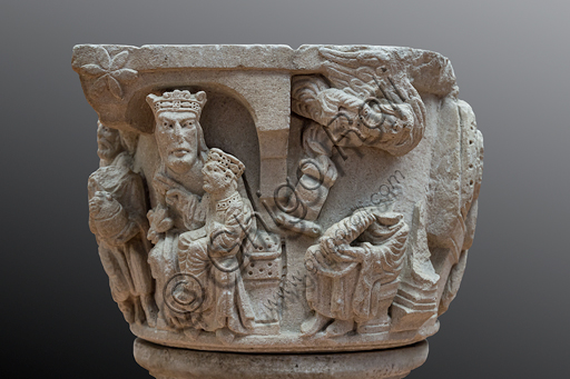 """""""Nativity and stories of the Childhood of Christ"""", capital of Campionese artists, second part of the XII century. Detail."""