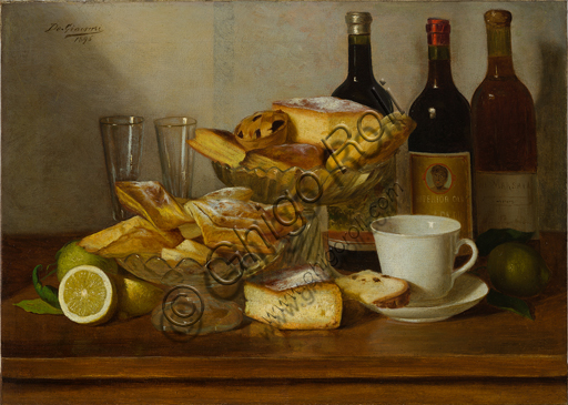 "Eugenio De Giacomi (1852 - 1917): ""Still Life with Bottle"", (oil painting on canvas 50 x 70 cm)."