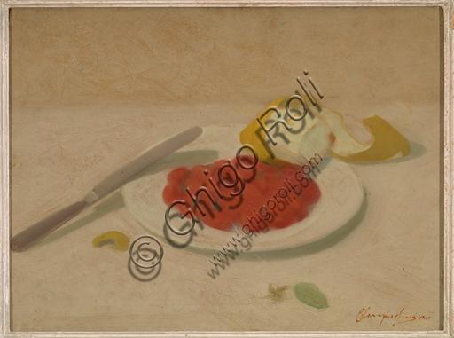 """Bruno Semprebon, (1906-1995): """"Natura morta"""" ; olio su cartone, cm. 30 × 40."""