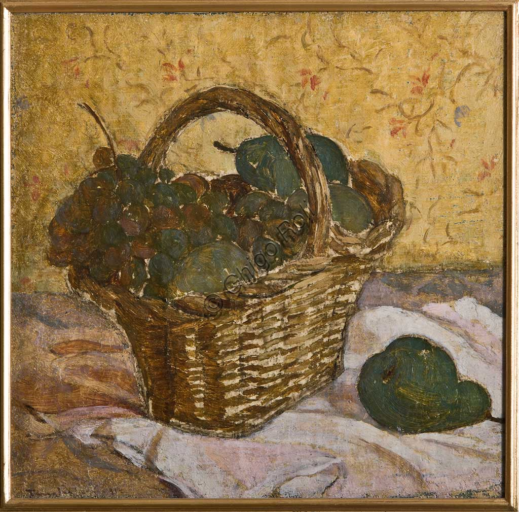 "Assicoop - Unipol Collection:  Tino Pelloni, ""Still Life with a Basket, oil on canvas."