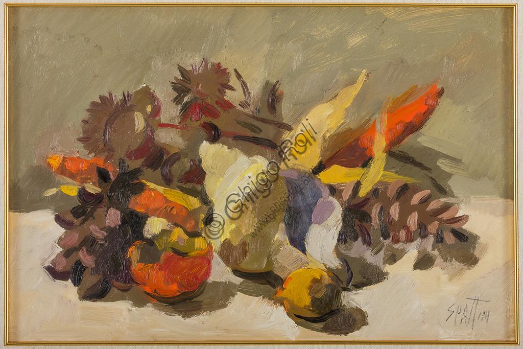 """Collezione Assicoop - Unipol: Claudio Spattini (1922 - 2010): """"Natura morta"""". Olio su tela,  cm 50 x 35."""