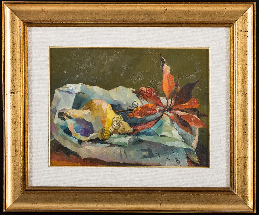 """Collezione Assicoop - Unipol: Claudio Spattini (1922 - 2010): """"Natura morta"""". Olio su tela,  cm 40 x 30."""