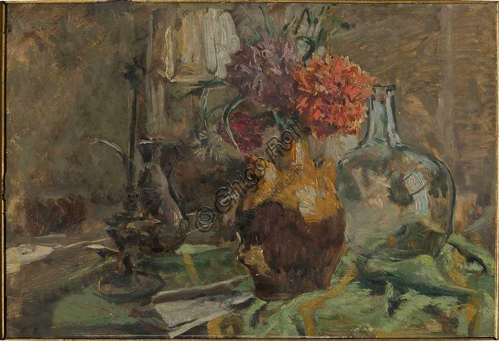 """Collezione Assicoop - Unipol: GIUSEPPE GRAZIOSI (1879-1942), """"Natura morta"""", olio su compensato, cm 85 x 57."""