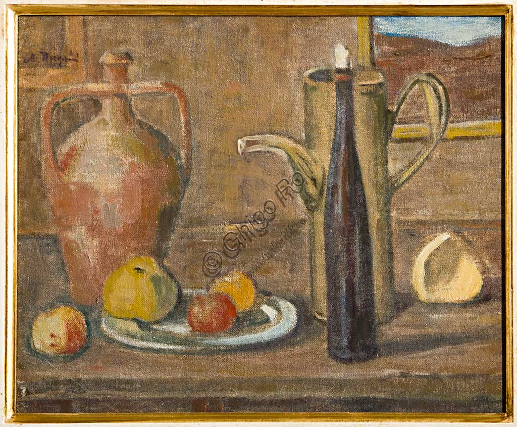 "Assicoop - Unipol Collection:  Mauro Reggiani (1897-1960), ""Still Life"". Oil painting, cm 35 X 45."