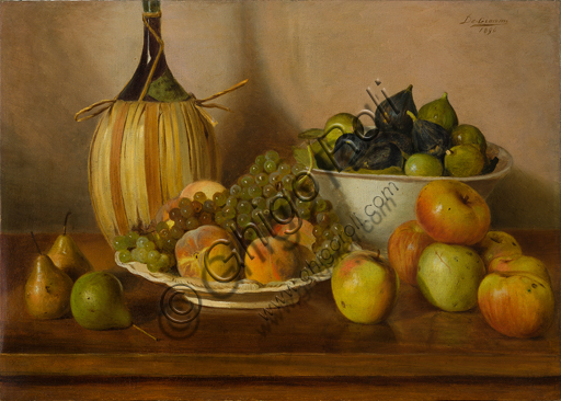 "Eugenio De Giacomi (1852 - 1917): ""Still Life with Fruit"", (oil painting on canvas 50 x 70 cm)."