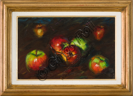 "Elpidio Bertoli (1902 - 1982): ""Still Life with Apples"" (Oil painting on canvas, cm. 45 x 60)."