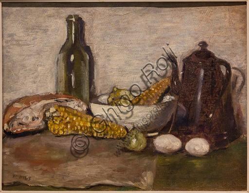 """Museo Novecento: """"Natura morta con pannocchie"""", di Filippo De Pisis, 1923-4. Olio su faesite."""