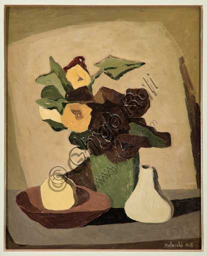 "Assicoop - Unipol Collection: Pietro Melecchi, ""Still life with vase of flowers"". 1949. Oil painting on plywood."