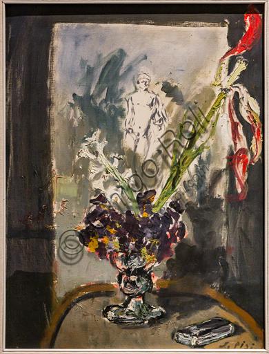 """Museo Novecento: """"Natura morta con vaso di fiori e tela con nudo maschile"""", di Filippo De Pisis, 1930. Olio su tela."""